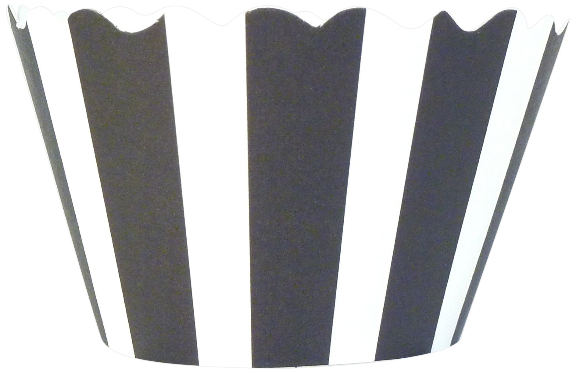 Bella Cupcake Couture 50-Pack Striped Cupcake Wrappers, Black/White by BELLA (Image #1)