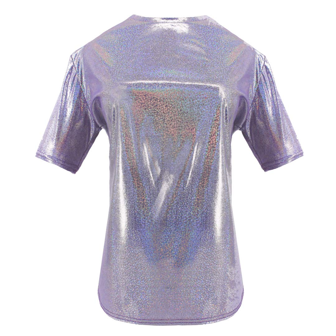 Purple Mocure Women's Loose Holographic TShirt Solid colors Reflective Print Hip Hop TShirt