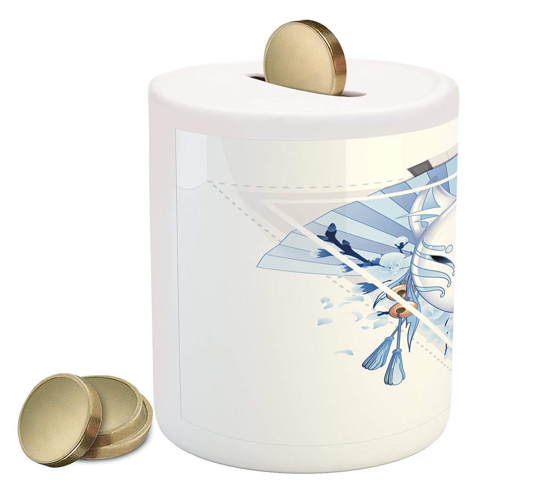 歌舞伎マスクコインボックスBank by Ambesonne、フォックスマスクKitsune日本文化テーマと三角形Sakura花、印刷セラミックコインバンクマネーボックスの保存の現金、薄いブルーホワイトベージュ   B078688WKD