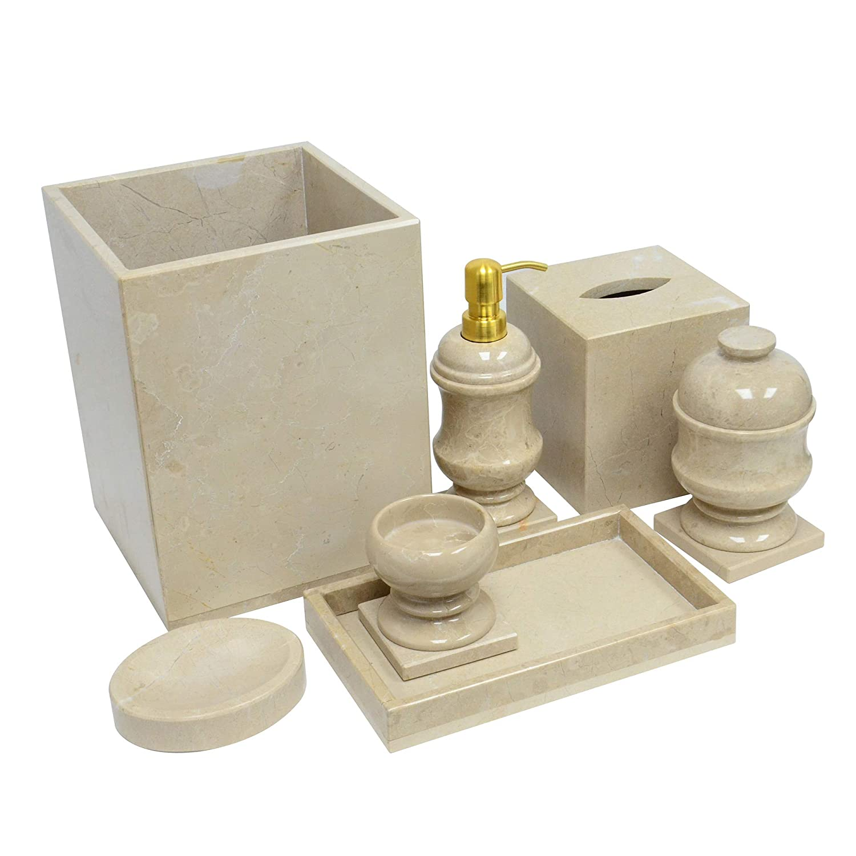 Beige Shower and Bathroom Accessory Polished Marble 7-Piece Bath Set