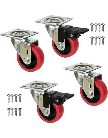 QC EY50R22P 4 Ruedas para muebles 2 con freno y 2 sin freno. Diámetro 50mm