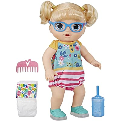 Baby Alive Step 'N Giggle Baby Blonde Hair Doll with Light-Up Shoes, Responds with 25+ Sounds & Phrases, Drinks & Wets, Toy for Kids Ages 3 Years Old & Up: Toys & Games