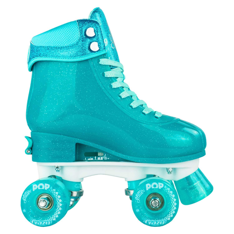 Crazy Skates Glitter POP Adjustable Roller Skates for Girls and Boys   Size Adjustable Quad Skates That Fit 4 Shoe Sizes   Teal (Sizes jr12-2) by Crazy Skates (Image #8)