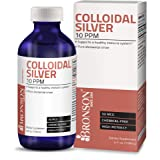 Bronson Colloidal Silver 10 PPM 50 MCG High Potency Superior Elemental Silver Liquid Immune Support Supplement, 4 fl. oz