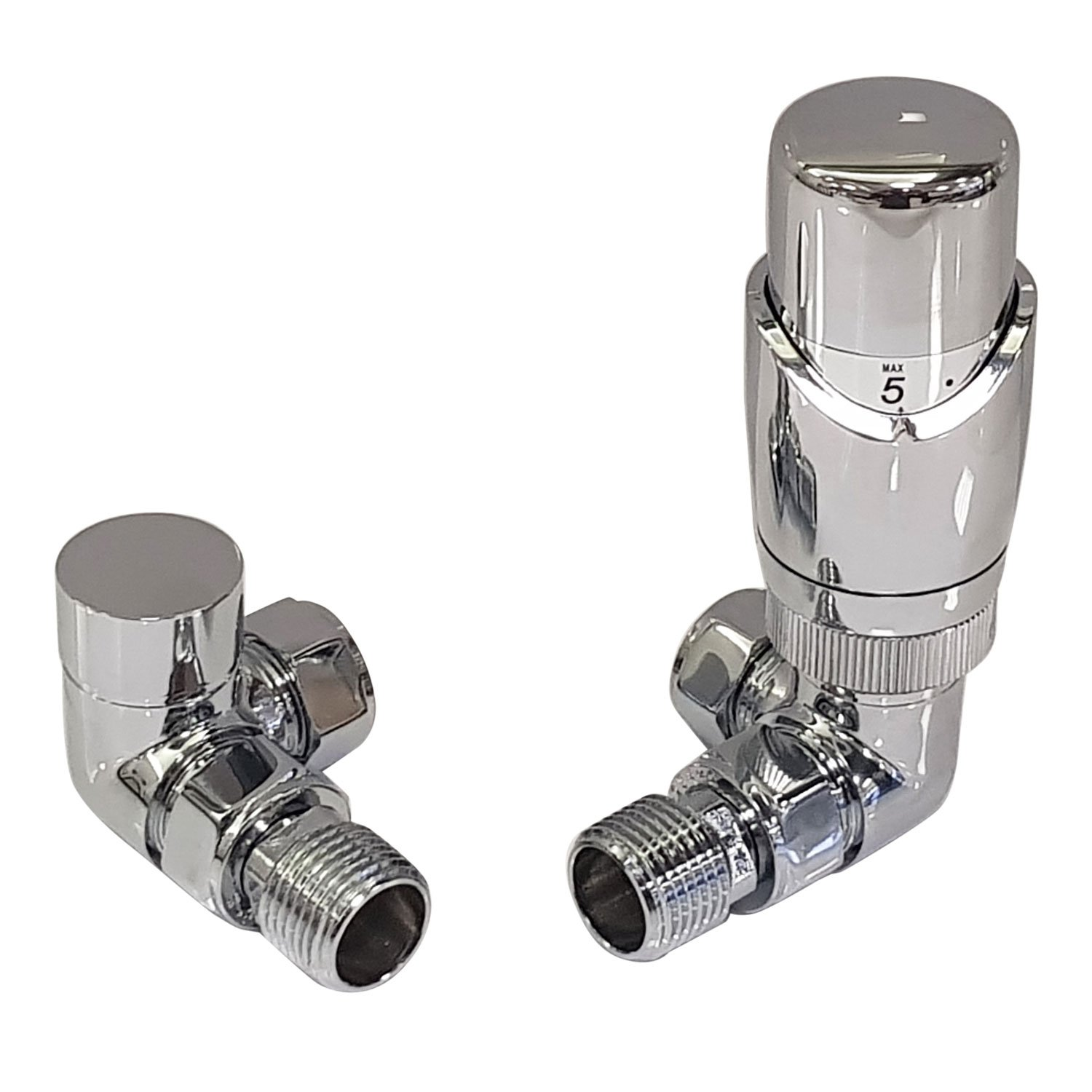 Thermostatic Radiator Valve Set - Chrome Radiator Valves inc. Corner TRV & Lockshield | Caldo Sidato CLD-CRC-TRV