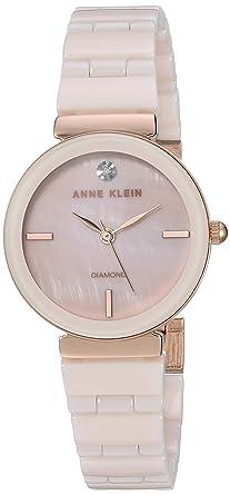e84053e2a Anne Klein Women's AK/3392LPRG Diamond-Accented Rose Gold-Tone and Light  Pink