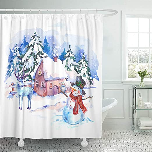 Fairy Tale Wood Scenery Shower Curtain Liner Waterpoof Fabric Bathroom Mat 180cm