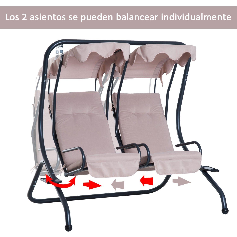 Outsunny Columpio Balancín Jardín 2 Plazas Individuales con Techo ...