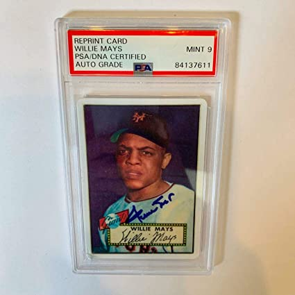 1952 Topps Willie Mays Signed Porcelain Rookie Card Rc Graded Mint 9