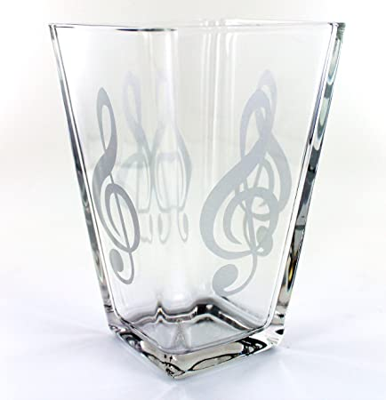 Glass Vase With Satin Treble Clef Music Note Treble Clef Brooch