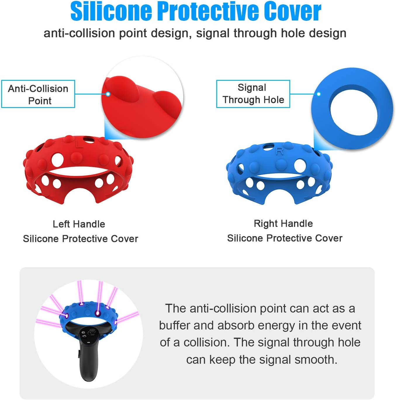 Left /& Right Handle Silicone Protective Cover Rings for Oculus Quest or Rift S Touch Controller Handle Table Tennis Racket VR Game Accessorie Table Tennis Paddle Grip Handle
