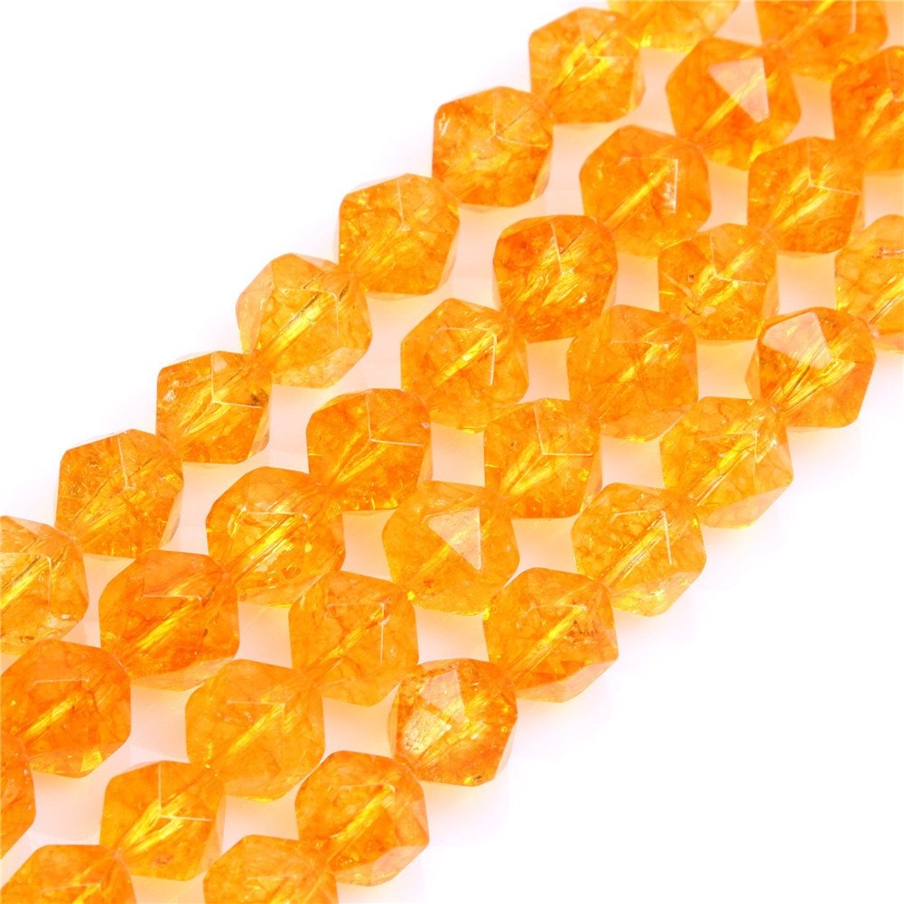 SHGBeads Dyed Citrine Crystal Gemstone Loose Beads Faceted 10mm Beads for Cambay Energy Stone Healing Power for Jewellery Making 15''
