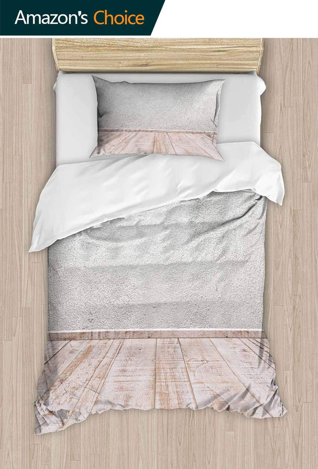 PRUNUSHOME Fashions Home Bedding Concrete Walls and Wood Floor for Text and Background.Copy Space Durable Elasticity California King