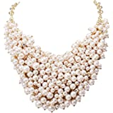Jane Stone White Beads Cluster Bib Necklace Fashion Statement Chunky Jewelry(Fn1042)