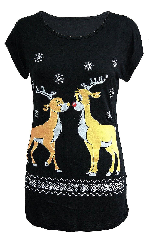New Womens Olaf Rudolph Snowman Santa Minion Christmas T-Shirt Tops 8-14