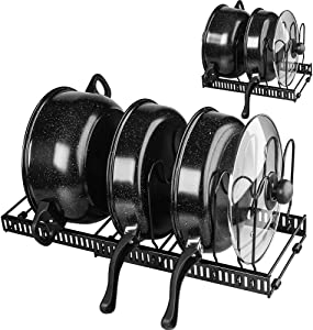 Pot and Pan Organizer for Cabinet Lid Holder Expandable, Tomorotec Attom Tech Home Cabinet Pot Lid Storage Rack Organizer for Frying Pan Kitchen