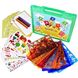 Drawing Stencils Set for Kids, MOMODA Travel Activity and Creativity Kit with over 260 Shapes, Ideal Gift for Boys and Girls, Educational Toy Toddler to Teen