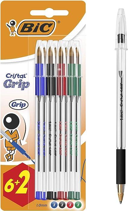 Bic Cristal Grip Stylos Bille Pointe Moyenne 1 0 Mm Couleurs Assorties Blister De 6 2 Amazon Fr Fournitures De Bureau