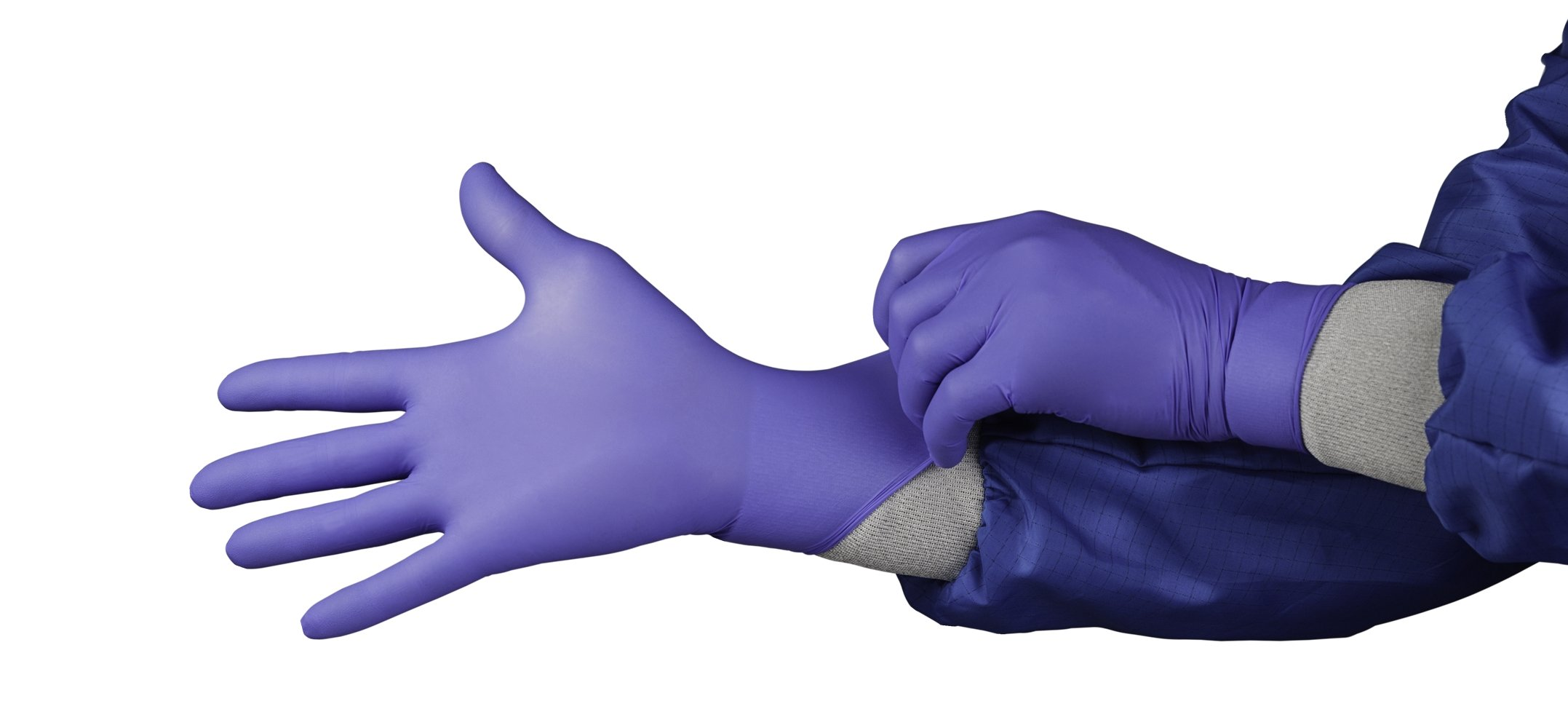 HandPRO Series 1750 Nitrile Ambidextrous Controlled Environment Glove, Powder Free, 240mm Length, Large, Blue (Pack of 1000)