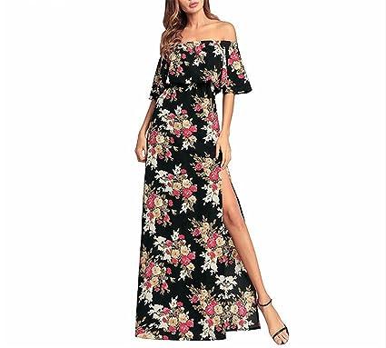 01277a16b5585 FJ-Direct Womens Ruffle Sleeve Side Split Long Dress Summer Sexy Off  Shouder Print Dresses