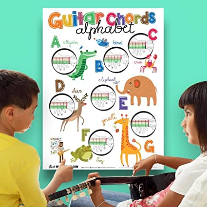 Amazon.com: Guitar Chords Alphabet Kids Learning Poster with Animals ...