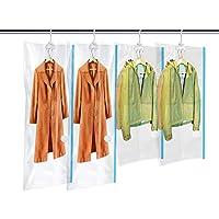 MRS BAG Housse de Rangement sous Vide Suspendu Economiseur d'Espace Sacs de Stockage avec Crochet pour Robe, Costumes, Manteaux, Vêtement - 2*Long (135x70cm) + 2*Petit(105x70cm)