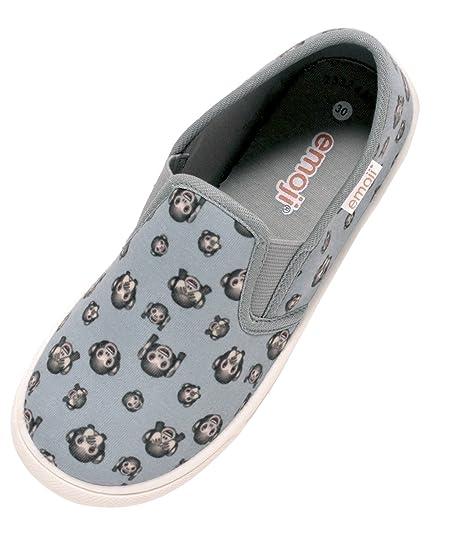 2cd34232176d86 Kinder Sneaker Slipper Freizeitschuhe Unisex Mädchen Jungen mit Emoji Affe  Gr. 30 – 34 (