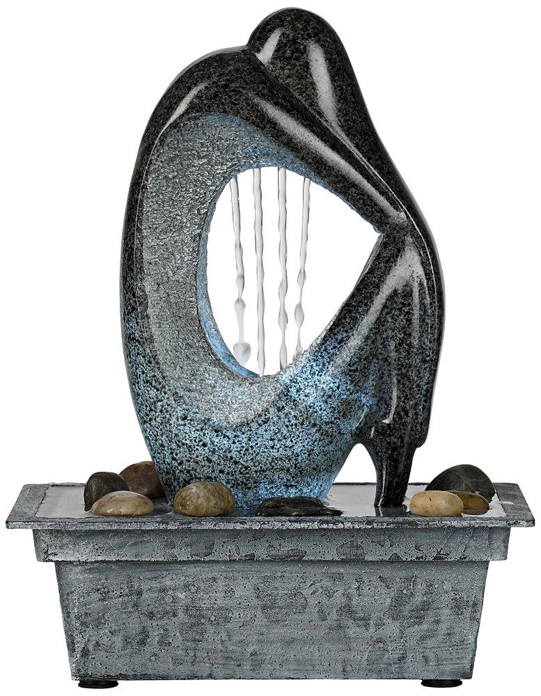 テーブルトップ 4-LED付卓上噴水 光沢感のある石像風 銅仕上げ 噴水ポンプ付き B008U8AAN6