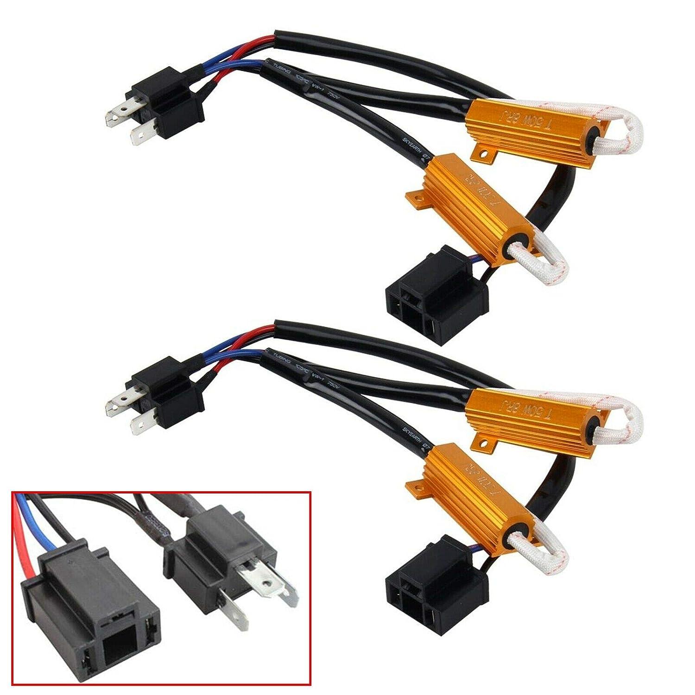 Xotic Tech H4 HB2 9003 Load Resistor Adapter Canceler Fix Flashing Flickering Blinking for Fog Light Error Free No Hyper Flash Warning Decoder Wiring Resistor