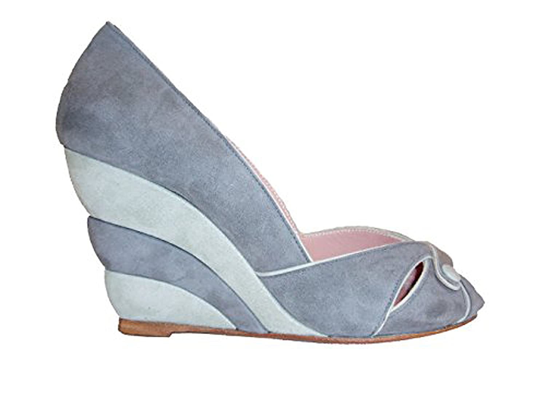 Blauprint Damen Damen Damen Keilsandale Velourwildleder 101-1281-grau-hellgrau  cc5728