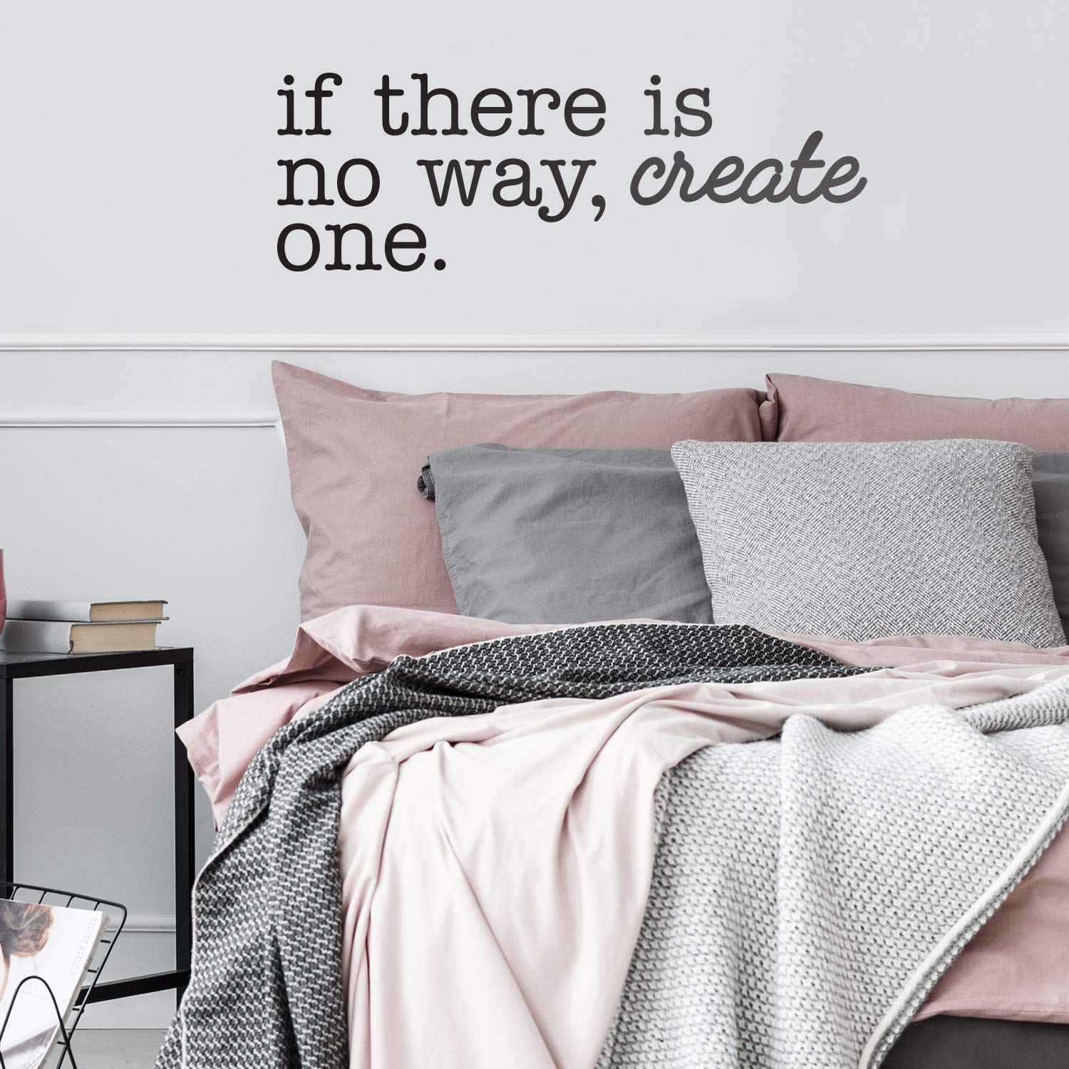 Modern Inspirational Life Quotes for Home Bedroom Living Room If There is No Way Create One Positive Work Office Apartment Decoration Vinyl Wall Art Decal 10.5 x 31