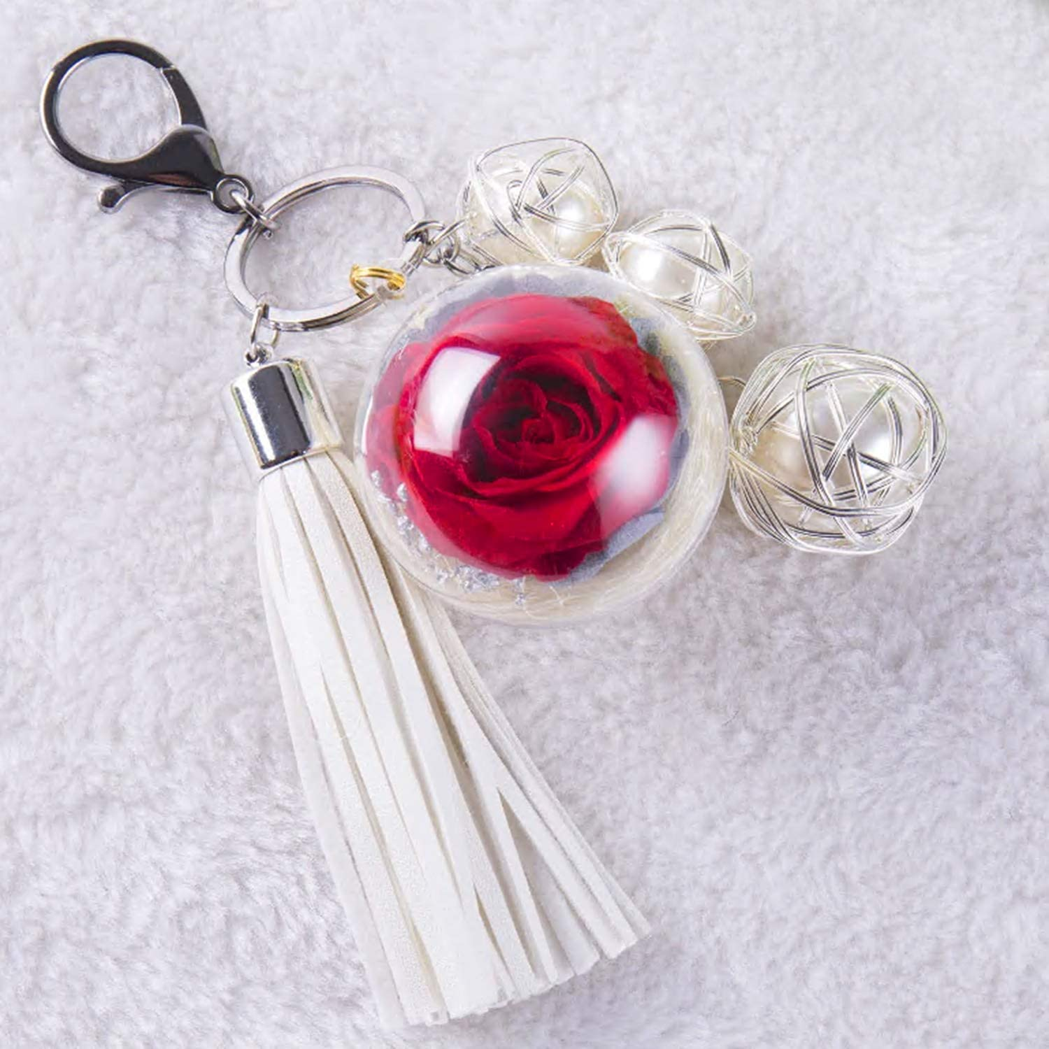 Anniversary ,Christmas Eternal Flowers Perfect Clothing and Bag Accessories Gift with for Valentines Day Birthday NW 1776 Hand-made Flowers Never Fade Plush Ball