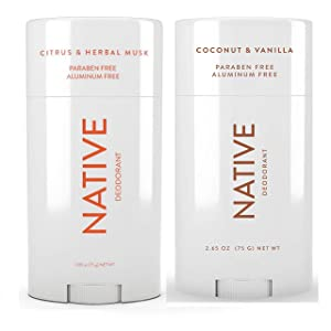 Native Deodorant - Natural Deodorant For Women and Men - 2 Pack - Aluminum Free, Free of Parabens - Contains Probiotics - Coconut & Vanilla And Citrus & Herbal Musk