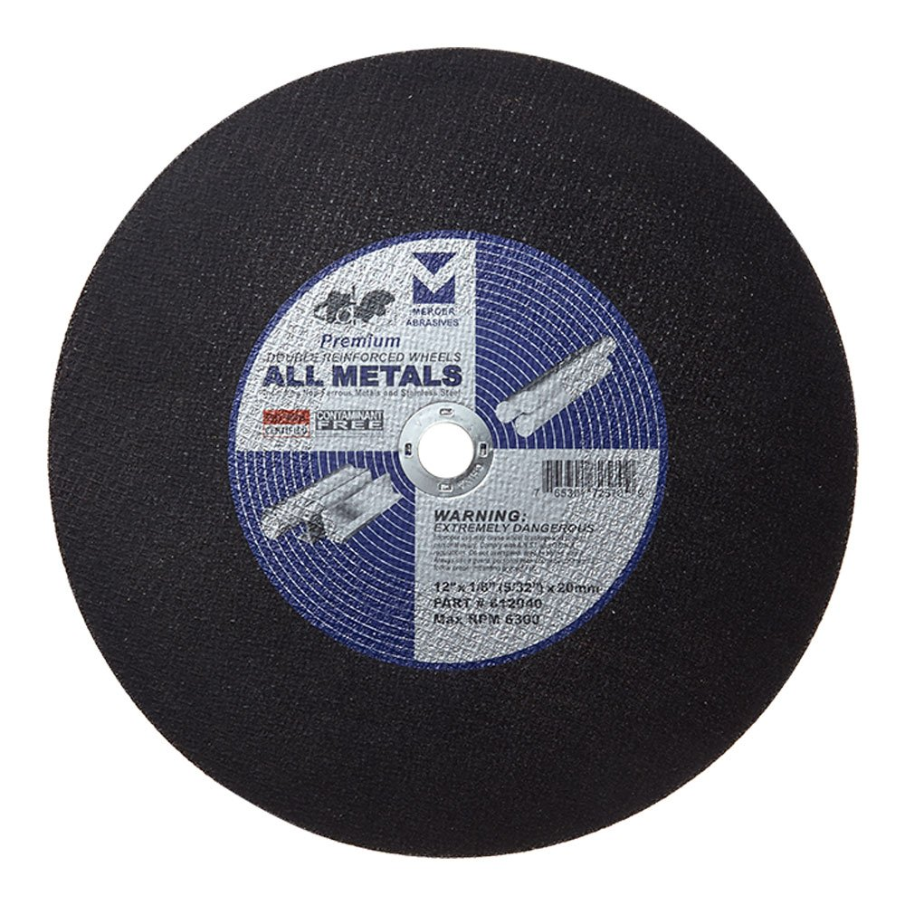 Mercer Industries 612040 Type 1 Double Reinforced Cut-Off Wheel, For All Metals, 12'' x 1/8'' (5/32'') x 20mm (10-Pack)