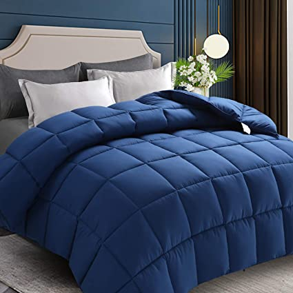 King Bedding Comforter Down Alternative Quilted Comforter Duvet Insert with Corner Tabs Navy