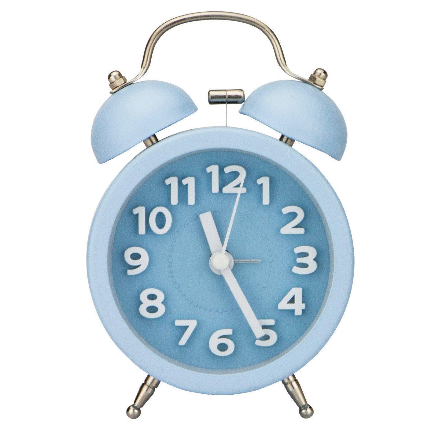 PiLife Silenzioso Non-Ticking Allarme Analogico al Quarzo Dell'Annata con Rotonda Twin Bell, Allarme forte / Luce notturna/ Numeri 3D per Sleepers Leggeri e Pesanti - Rosa
