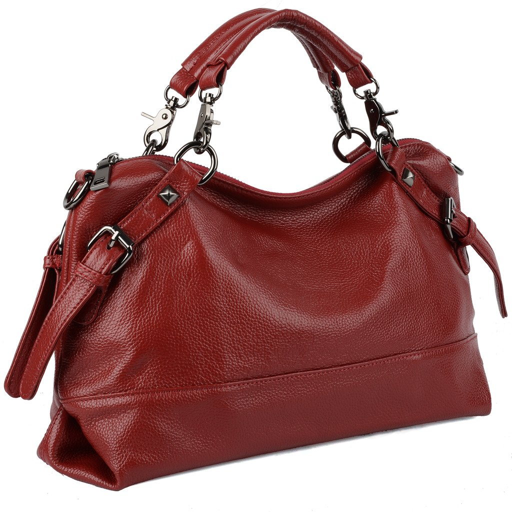 YALUXE Women's Double Handle Soft Leather Purse Hobo Shoulder Bag Red