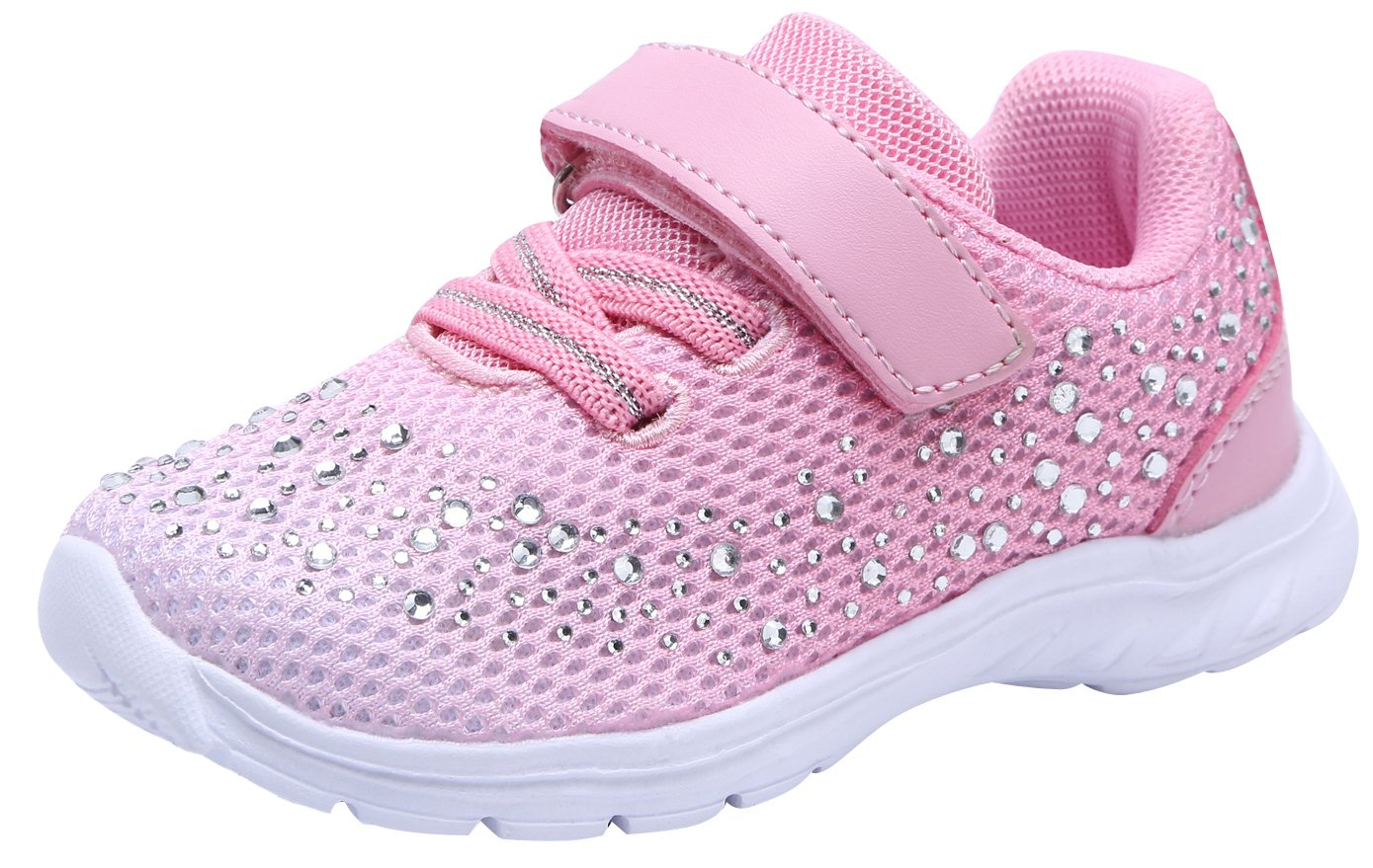 G GEERS Kids Girl's Fashion Sneakers Lightweight Casual Sports Shoes OS005 PINK/WHITE-11 by G GEERS (Image #1)