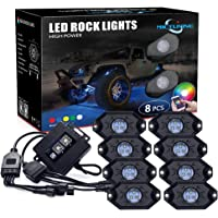 MICTUNING 2nd-Gen RGB LED Rock Lights with Bluetooth Controller, Timing Function, Music Mode - 8 Pods Multicolor Neon…