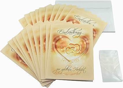 Goldhochzeit Einladungen Im Set 50 Jahre Verheiratet Und Goldene Hochzeit Feiern Und Dazu Einladen Mit 20 X Einladungskarten 20 Weiße Umschläge Und