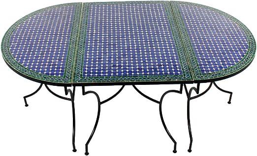 Albena Marokko Galerie - Juego de 3 mesas ovaladas (120 x 200 cm), diseño de mosaico: Amazon.es: Jardín