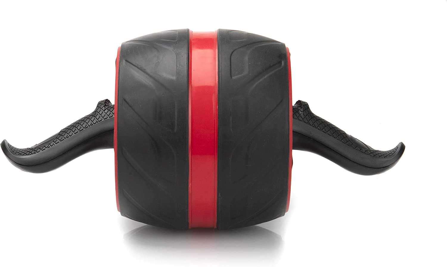 Mind Reader Ab Roller with Ergonomic Handles, Ultra-Wide, Home Fitness Wheel, Non-Slip Rubberized, Red/Black