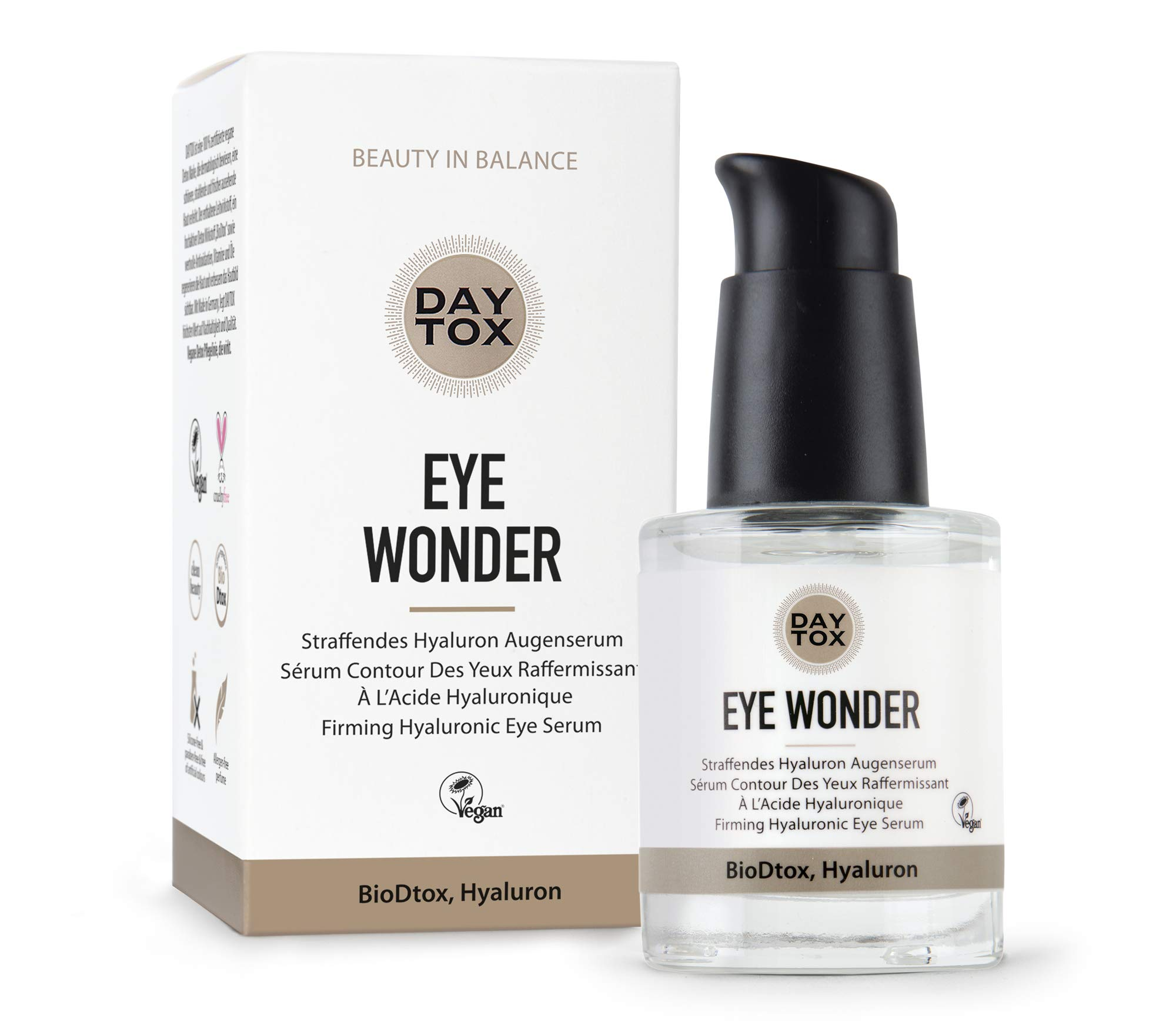 DAYTOX - Eye Wonder - Tightening Hyaluronic Eye Serum, High Dosage with Immediate Effect - Vegan, without Colourants, Silicone and Paraben free - 1 x 30 ml