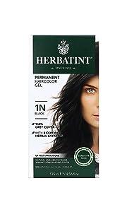 Herbatint Permanent Herbal Hair Color Gel, 1N Black, 4.56 Ounce