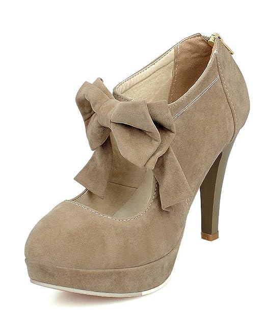De Gamuza Bowknot Alto Zapatos Boda Shoes Tacones Stiletto Tacón Mujer Jane Mary Con Plataforma Cremallera Minetom j4RLA5