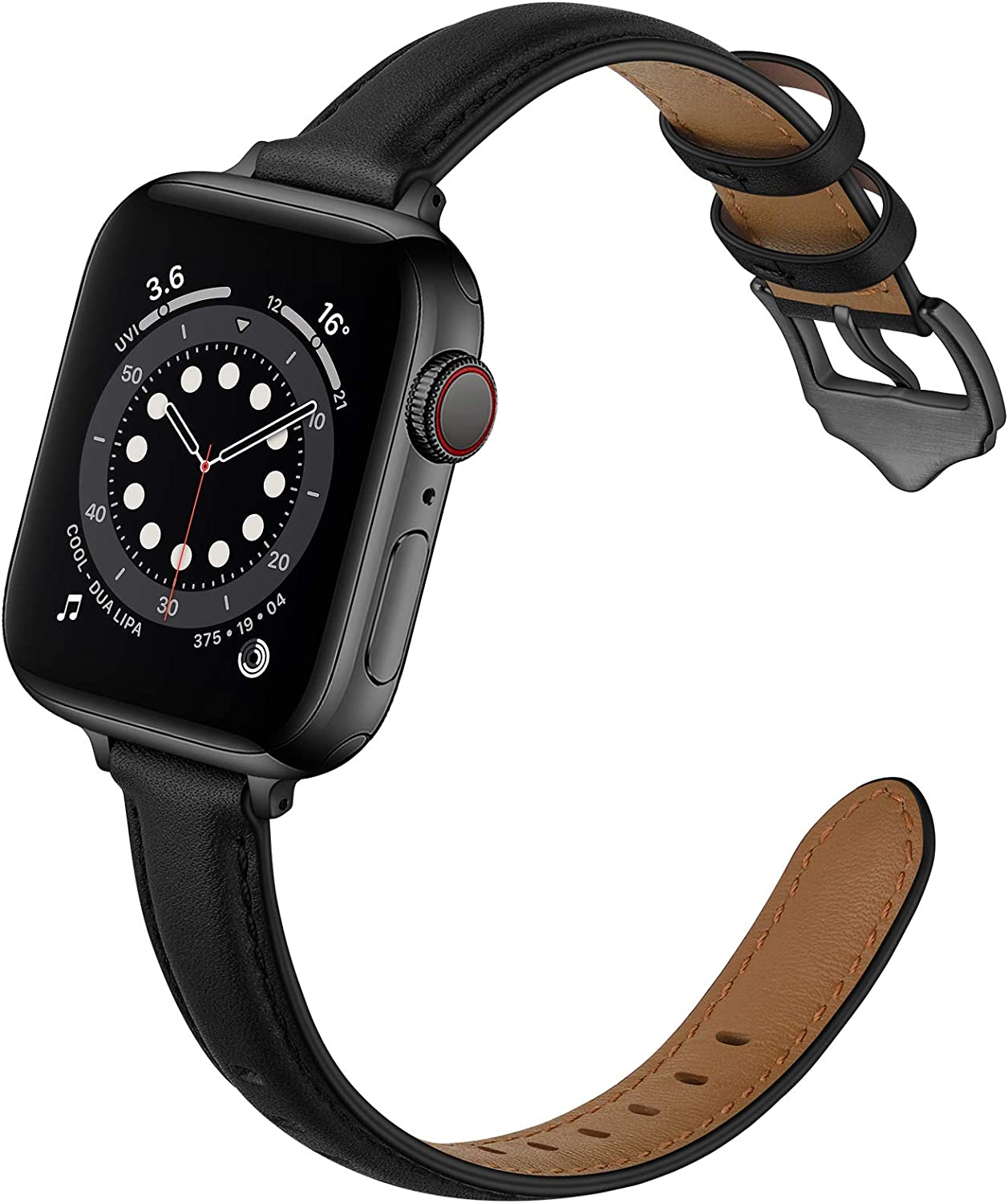 OUHENG Compatible with Apple Watch Bands 40mm 38mm 44mm 42mm, Women Slim Thin Genuine Leather Replacement Strap for iWatch SE Series 6 5 4 3 2 1 (Black/Black, 40mm 38mm)