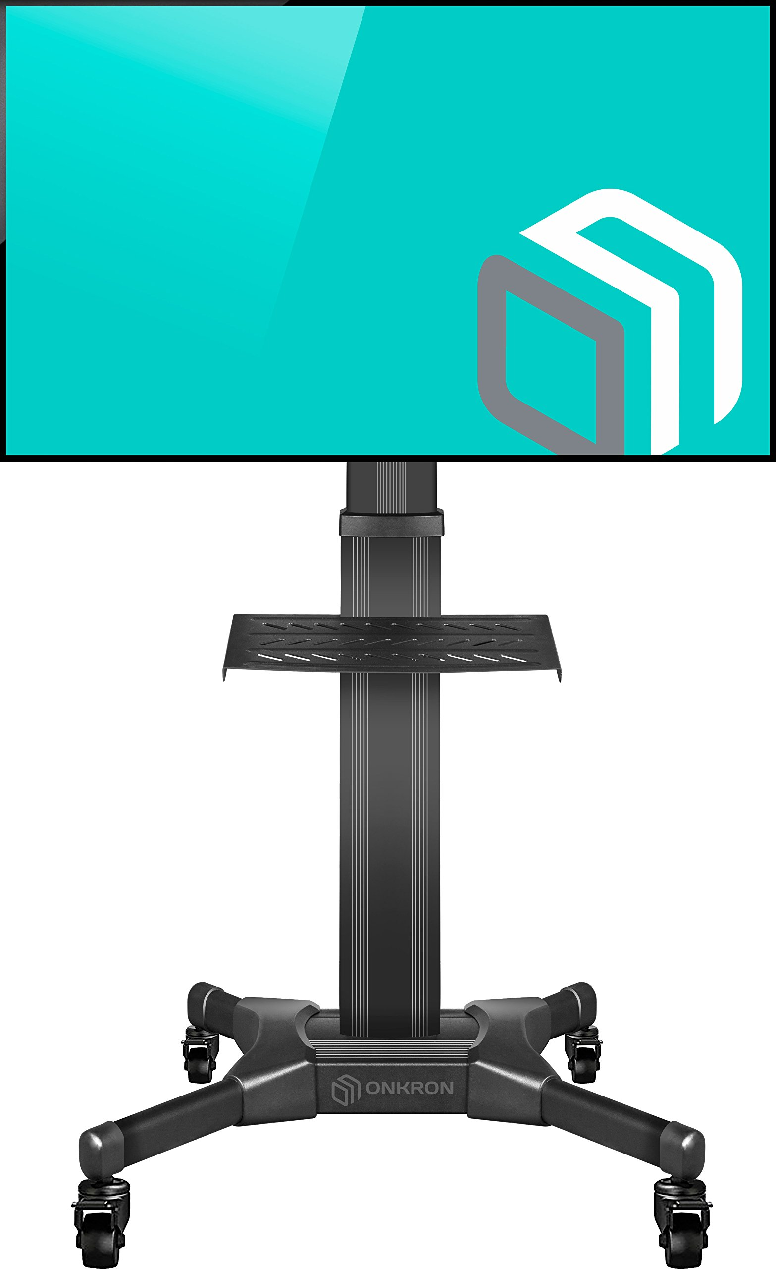ONKRON Mobile TV Stand with Mount Rolling TV Cart for 32'' - 55'' LCD LED Flat Screen TV with Wheels Shelves Height Adjustable TV Trolley (TS2551) by ONKRON (Image #1)