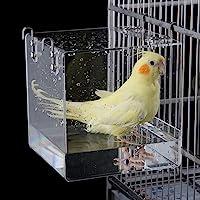 GURECOD Hanging Bird Bath Cube Bird Bathtub Bath Shower Box Bowl Cage Accessory for Little Bird Canary Budgerigar…