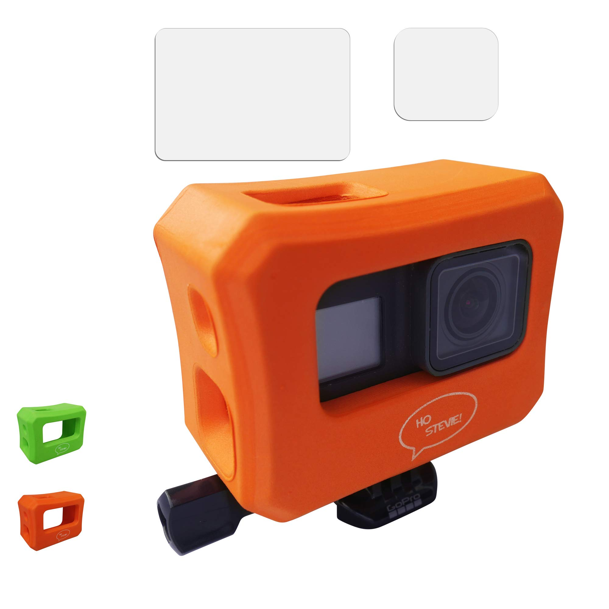 Ho Stevie! Floaty Case + Screen Protectors for GoPro Hero 7, Hero 6, or Hero 5 [Choose Color] (Orange)