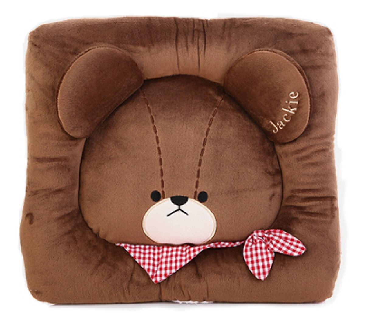 The Bear's School Jackie Teddy Bear Ribbon Square Cushion Brown 14''